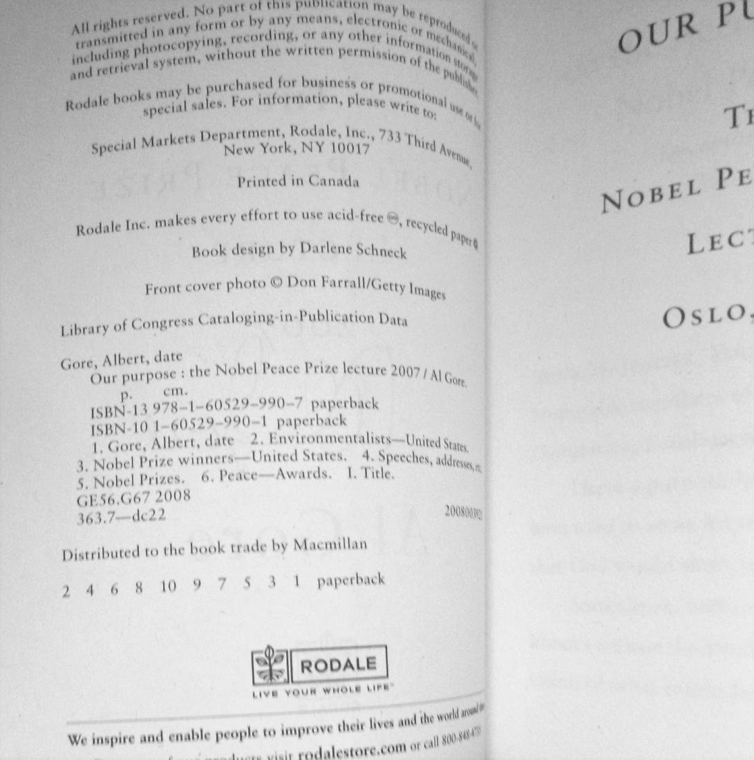 The Nobel Prize Lecture- SignedAl Gore First Edition - 3