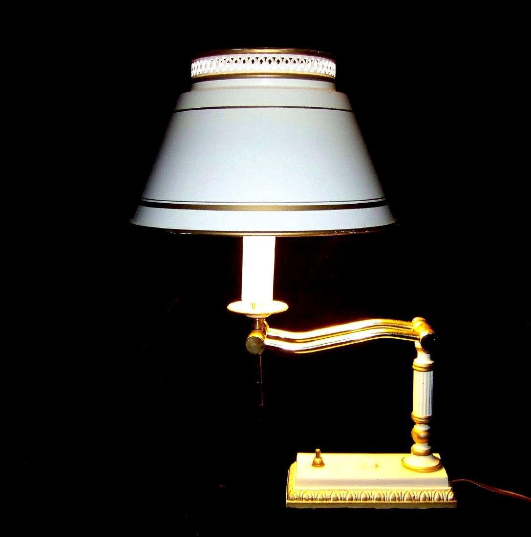 Vintage Early American Style Brass Desk Lamp