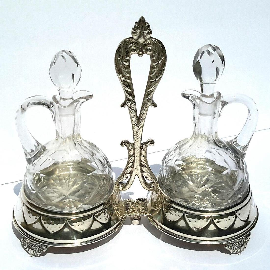 Vintage Spanish Silverplate Cut Crystal Cruit Set