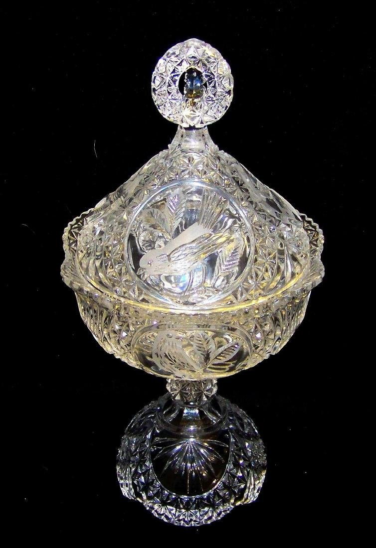 Vintage Hofbauer Byrdes Collection Crystal Candy Dish