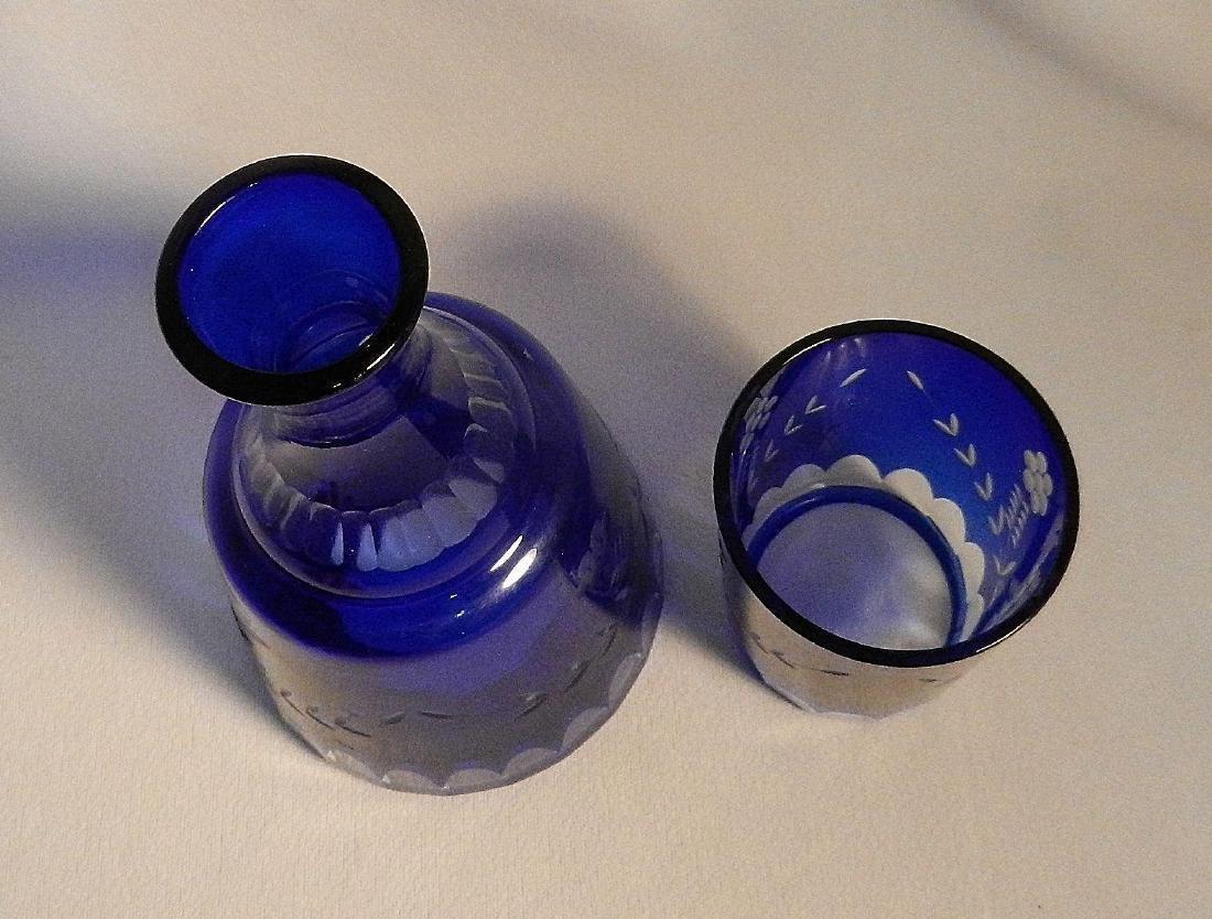 Vintage Cut to Clear Cobalt Blue Bedside Water Carafe - 3