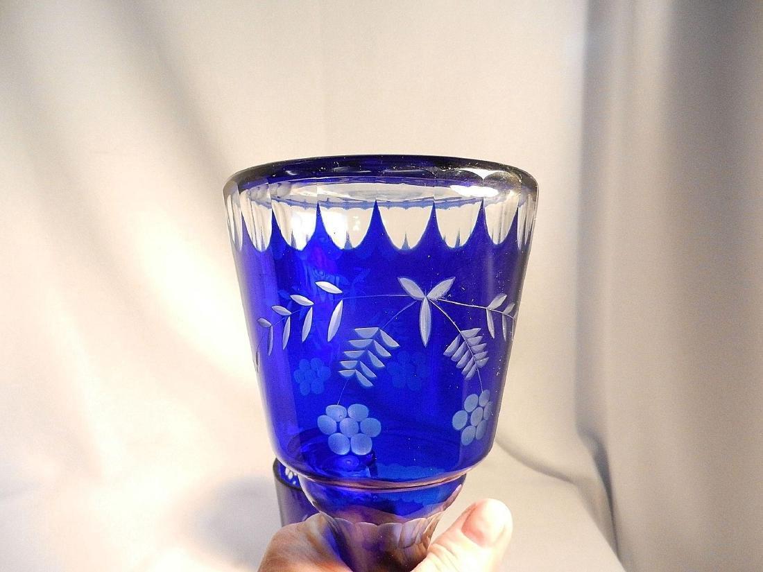 Vintage Cut to Clear Cobalt Blue Bedside Water Carafe - 4