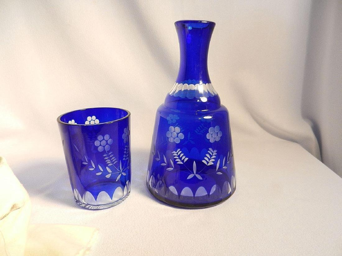 Vintage Cut to Clear Cobalt Blue Bedside Water Carafe - 5
