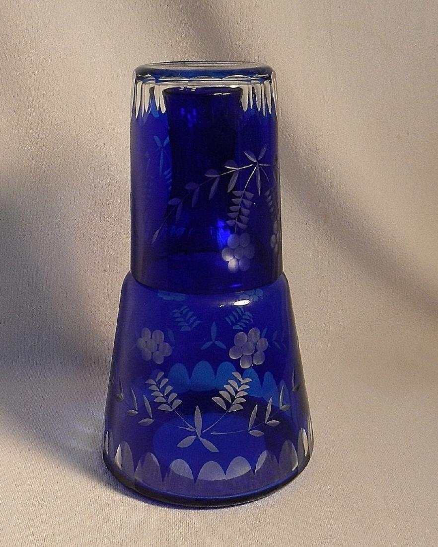 Vintage Cut to Clear Cobalt Blue Bedside Water Carafe - 6