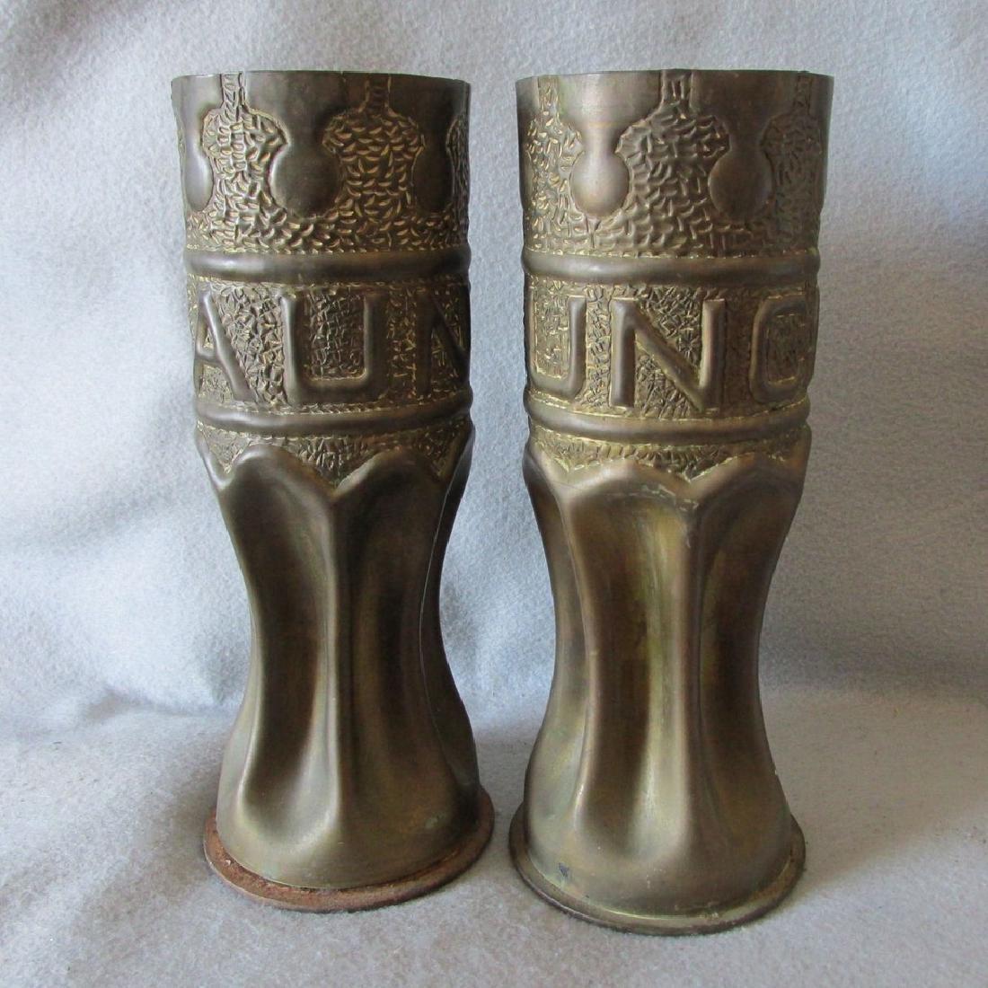 Pair Trench Art Vases, Military Shell Casings Folk Art