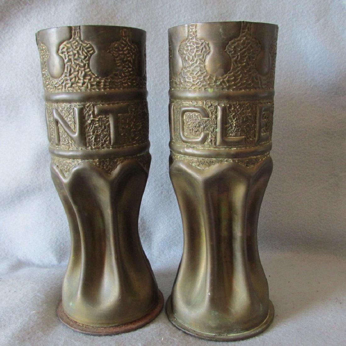 Pair Trench Art Vases, Military Shell Casings Folk Art - 2