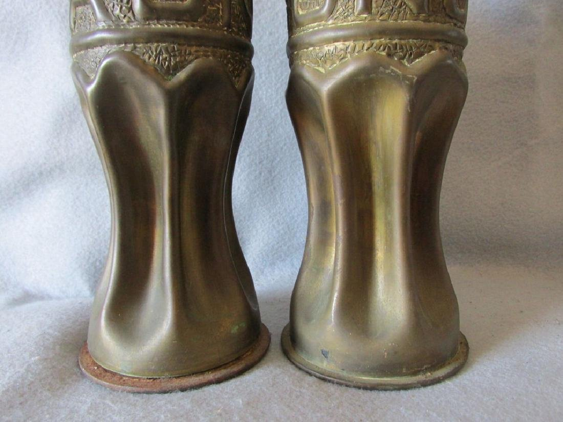 Pair Trench Art Vases, Military Shell Casings Folk Art - 4