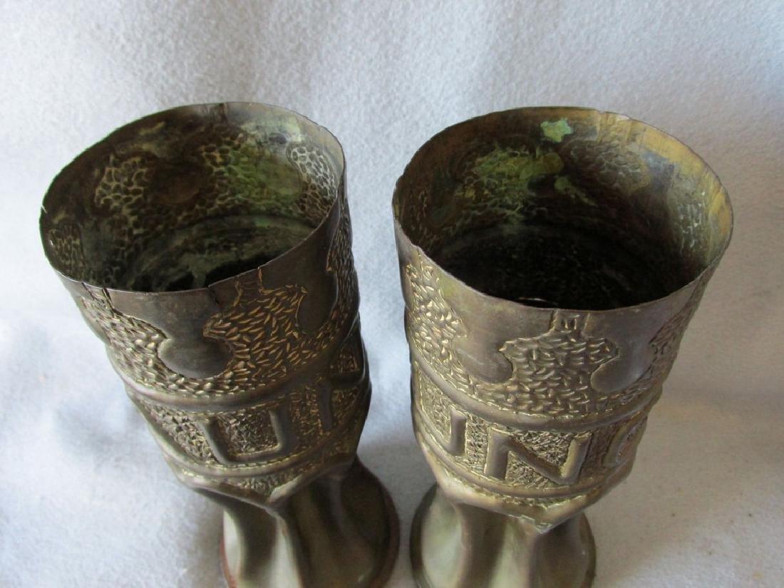 Pair Trench Art Vases, Military Shell Casings Folk Art - 5