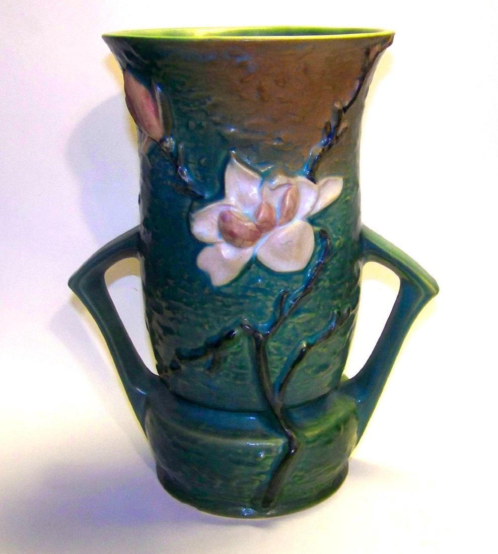 Vintage Magnolia Blue Roseville Pottery Vase