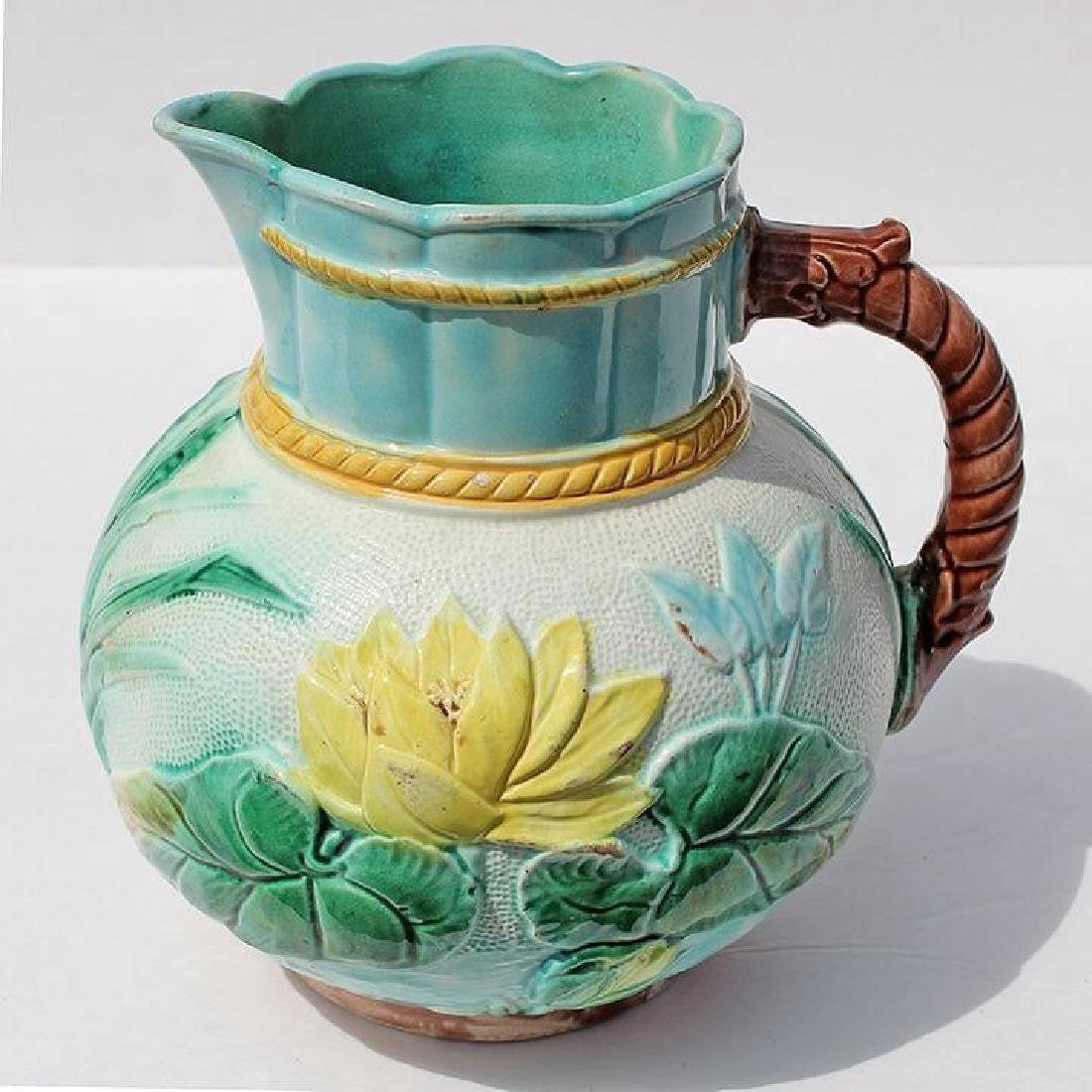 19th Century English Majolica Water Lily Pitcher, 1870