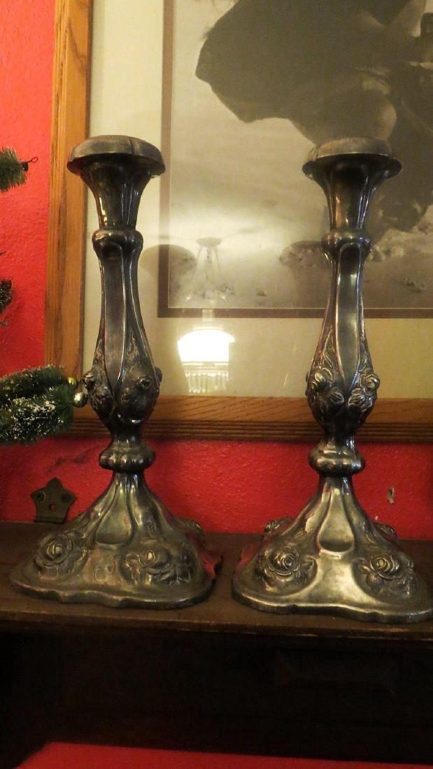 Antique Austrian 800 Silver Diana Head Candlesticks
