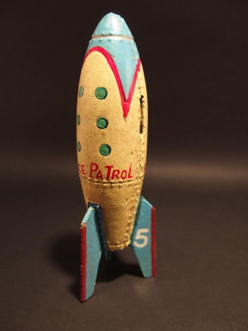 Cast Iron Folk Art Space Patrol Rocket Ship Coin Bank - 8