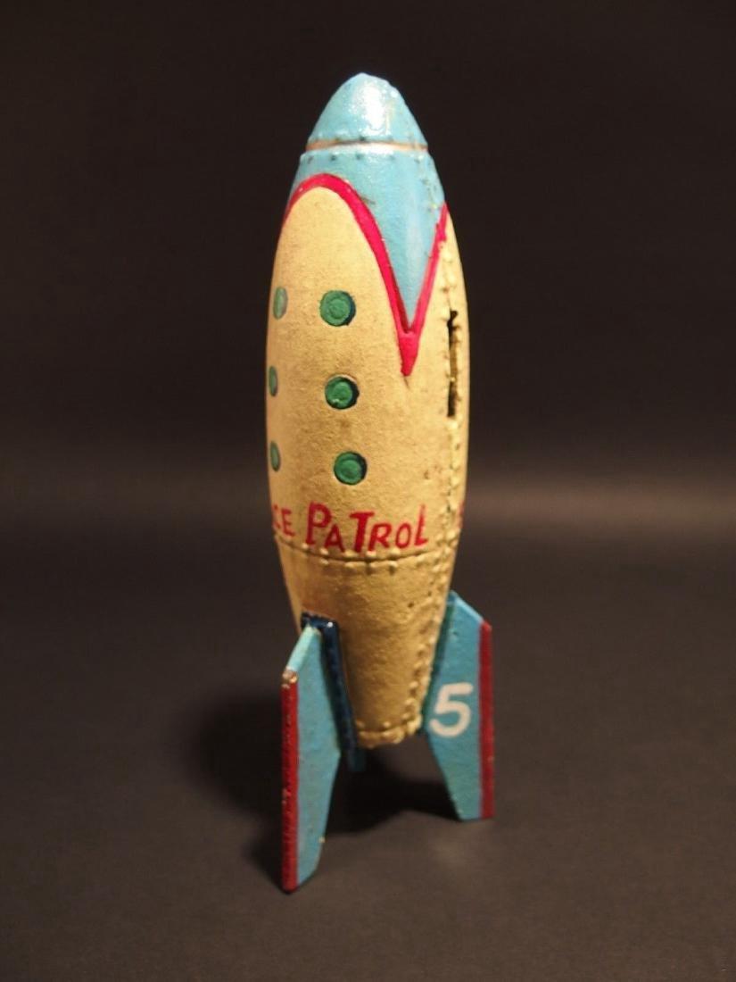 Cast Iron Folk Art Space Patrol Rocket Ship Coin Bank - 9