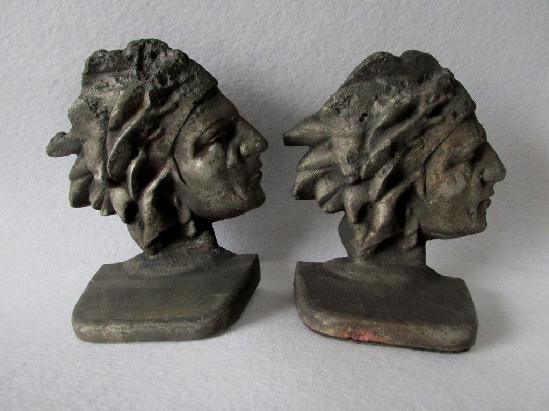 Antique Native American Indian Bookends, Sand Cast