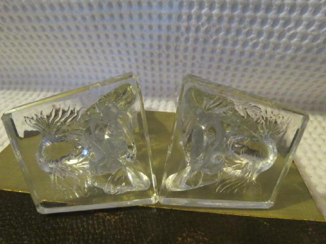 Vintage Art Deco Nude legs up Glass bookends - 8