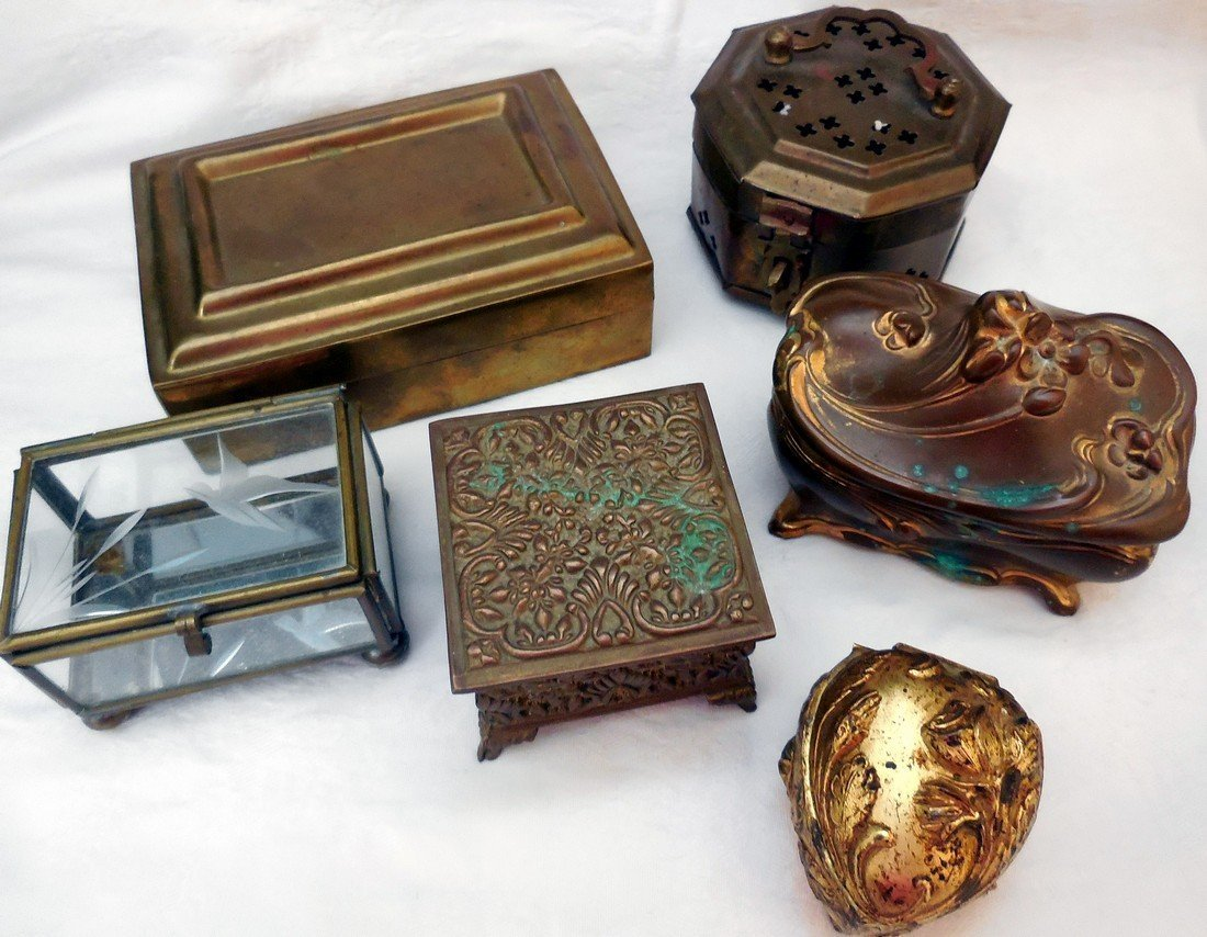 Lot of Antique & Vintage Jewelry Boxes