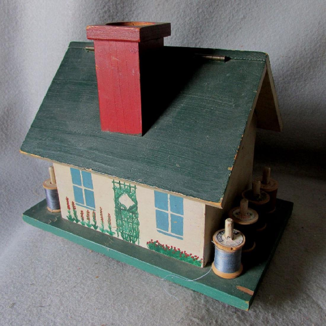 1930s Folk Art Figural Cottage Sewing Box