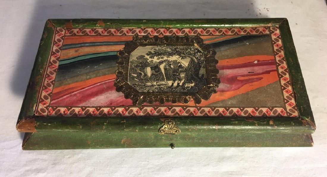 Antique Decorated Paper Glove Box, 1860