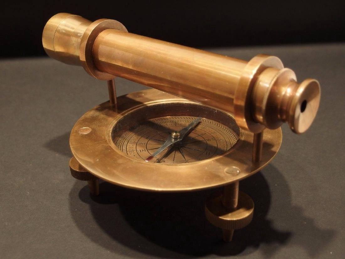 Brass Surveyors Compass Telescope Instrument