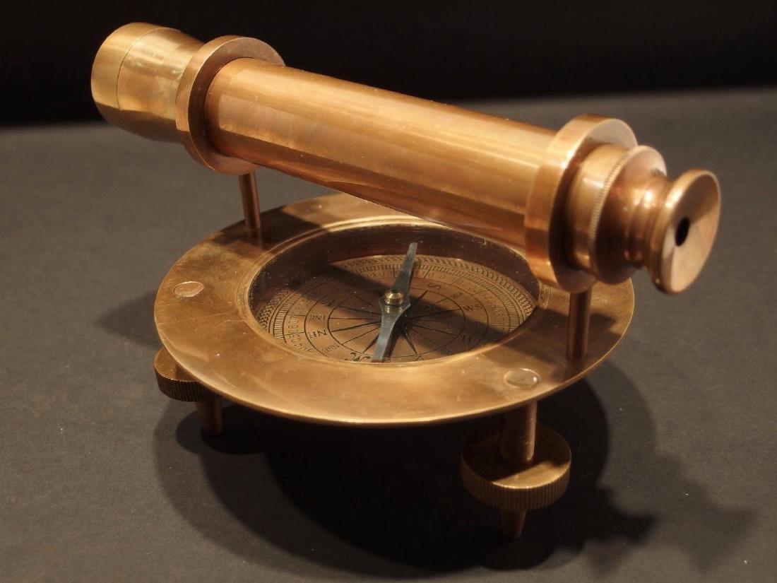 Brass Surveyors Compass Telescope Instrument - 3