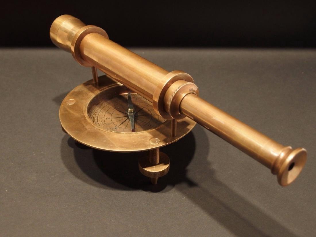 Brass Surveyors Compass Telescope Instrument - 4