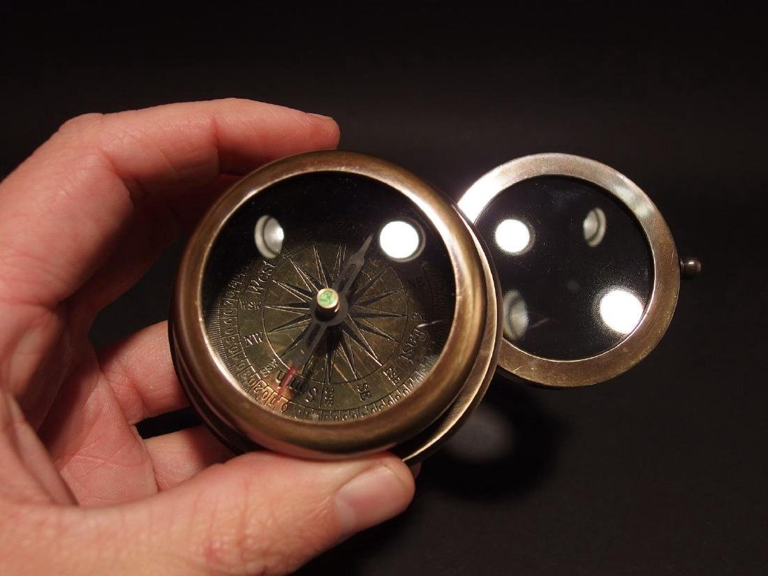 Heavy Brass Map Compass w Folding Magnifying Glass - 4