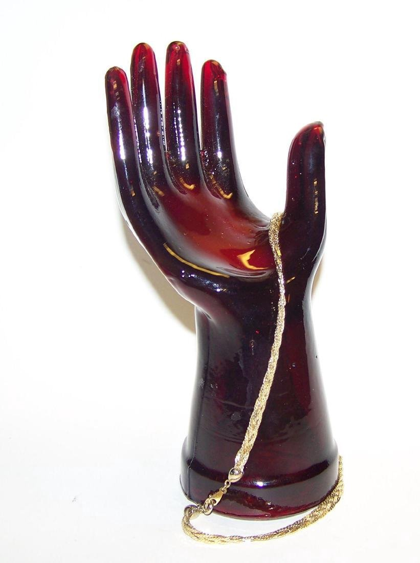 Vintage Ruby Red Glass Hand Jewelry Display