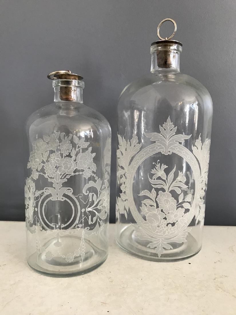 Etched Antique Cologne Bottles with Original Stoppers
