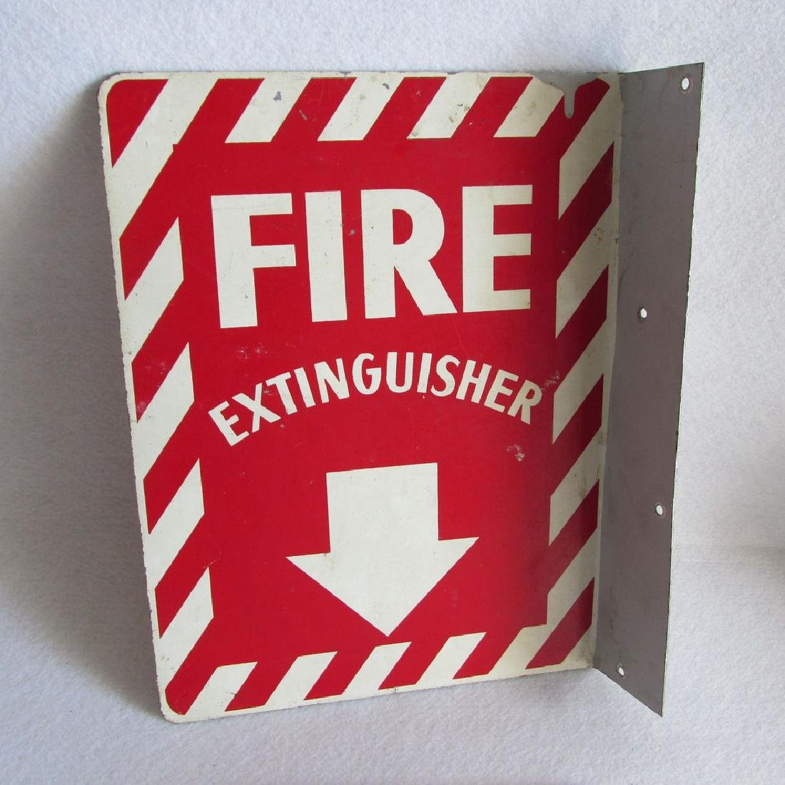 Vintage Fire Extinguisher Sign, Industrial Metal Flange