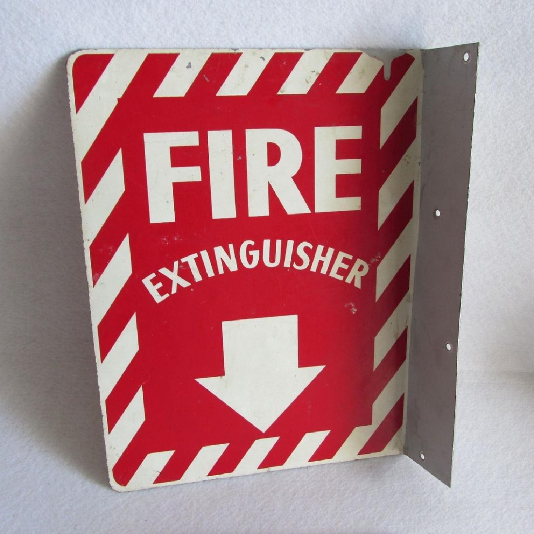 Vintage Fire Extinguisher Sign, Industrial Metal Flange