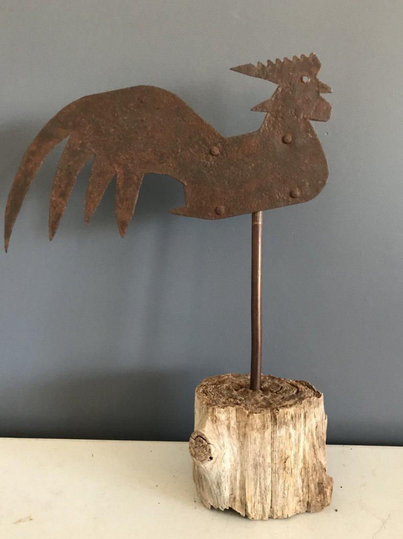 Folk Art Sheet Metal Rooster Mounted on Old Log Stump