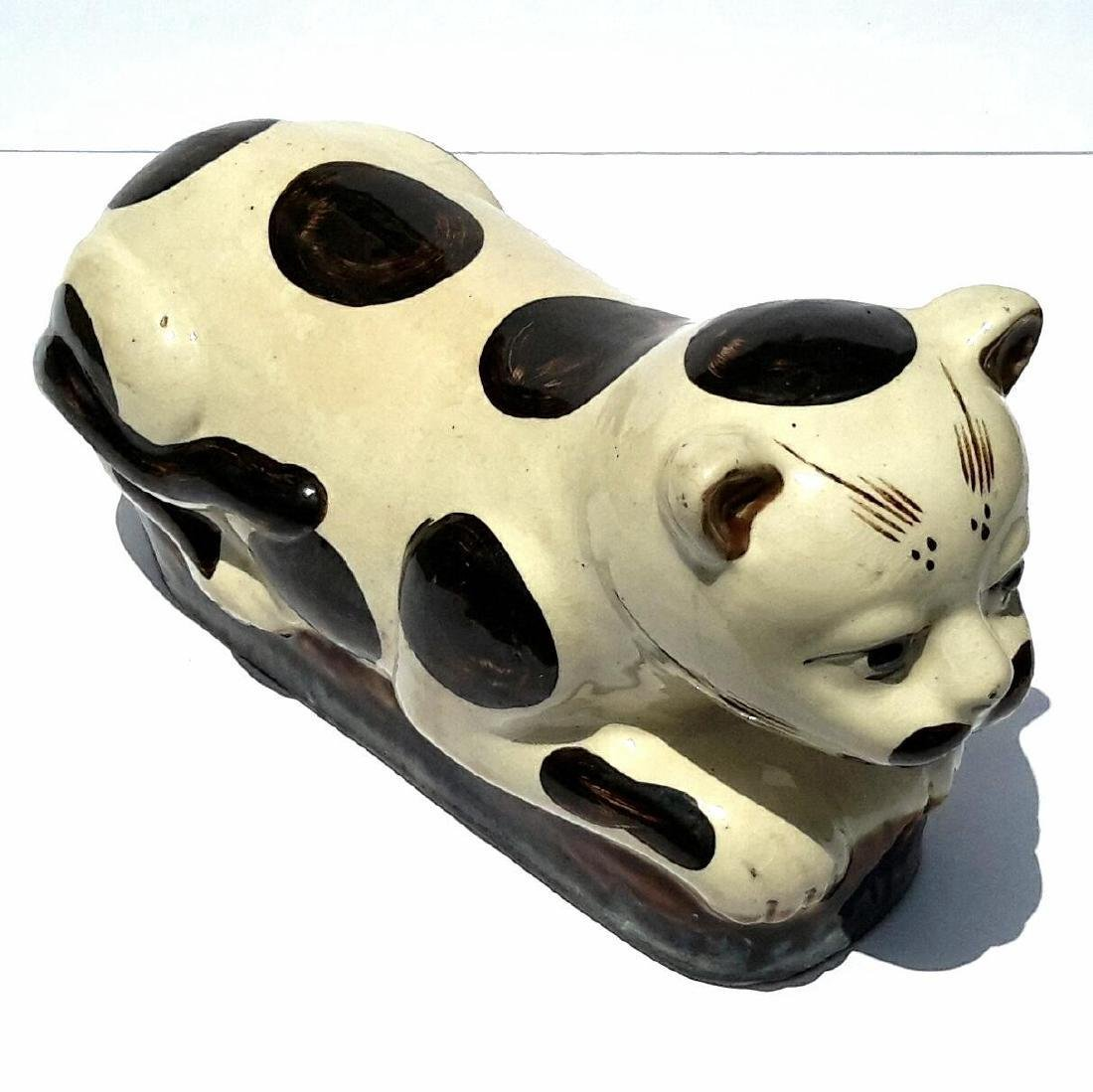 19th Century Chinese Porcelain Cat Form Pillow
