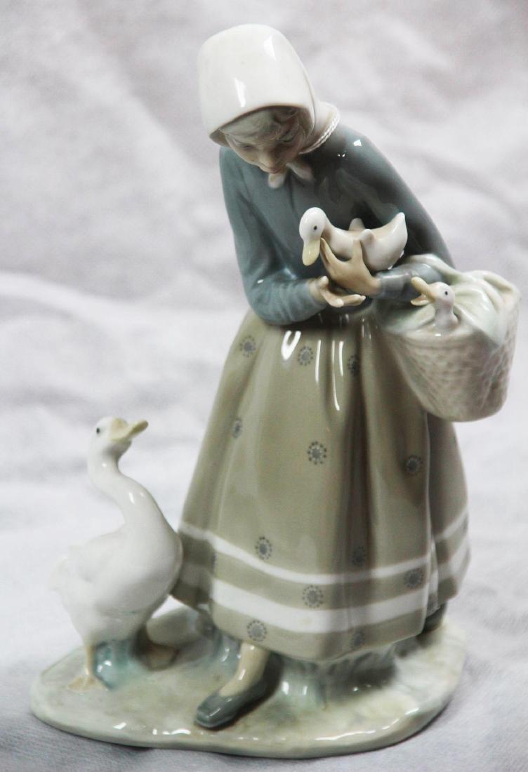 "LLadro #4568 ""Shepherdess With Geese."" Glazed."