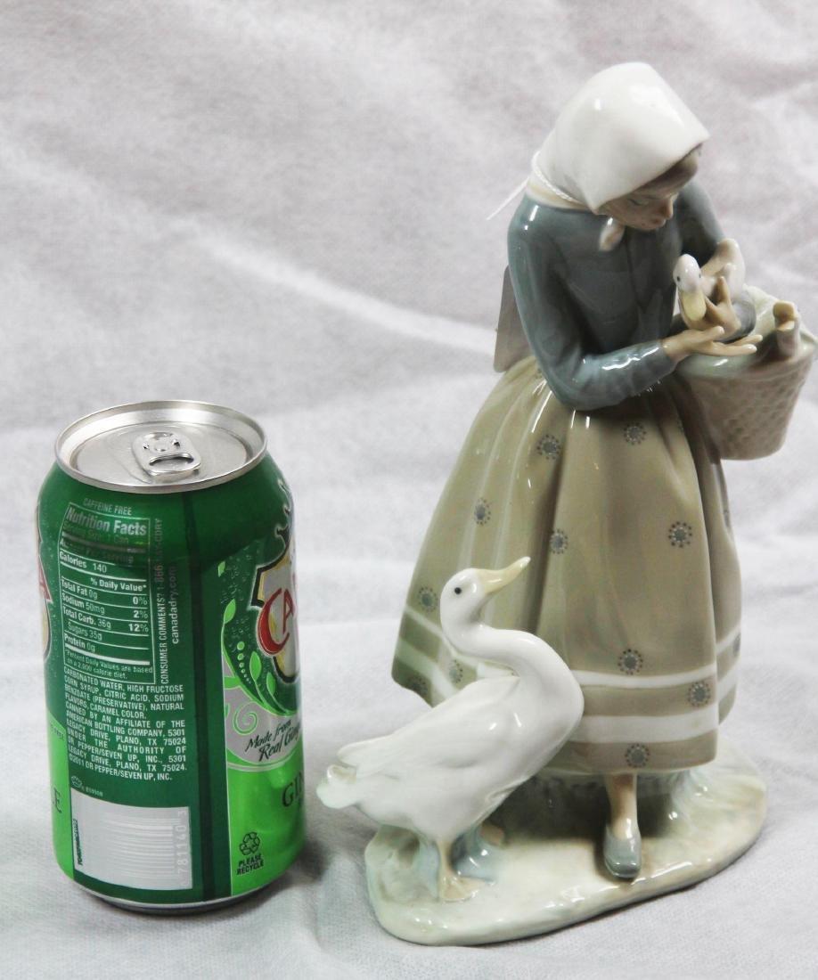 "LLadro #4568 ""Shepherdess With Geese."" Glazed. - 2"