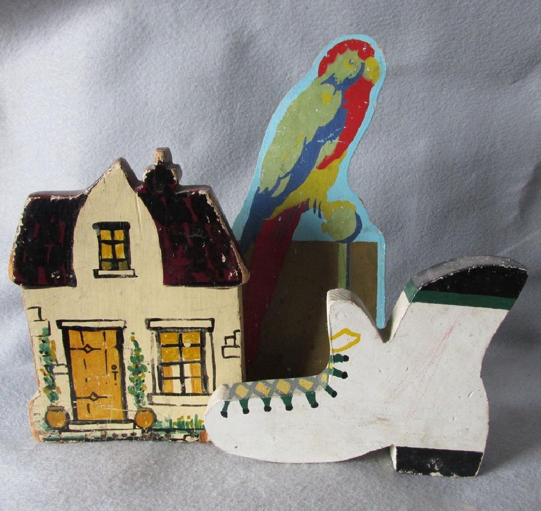 3 1840s Folk Art Doorstops, Shoe, Cottage & Parrot