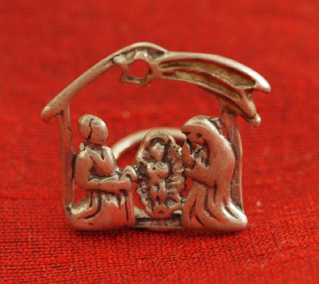 Vintage 800 Silver Miniature Nativity