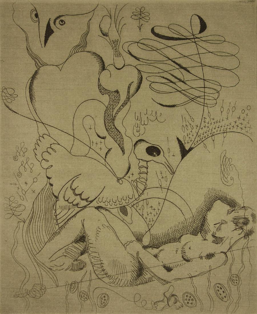 Jacques Maret Surrealist Composition Etching