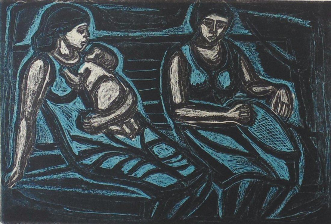 Irving Amen Waiting Room Woodcut - 2