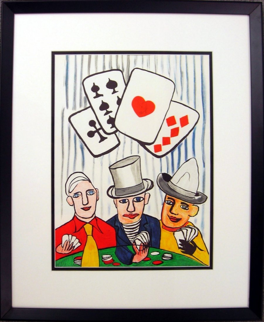 Alexander Calder Three Men Playing Cards Lithograph