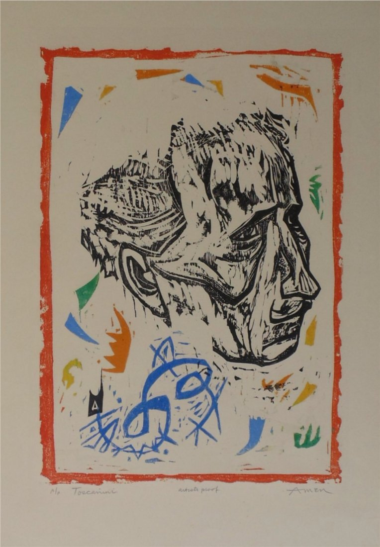 Irving Amen Toscanini Woodcut - 2