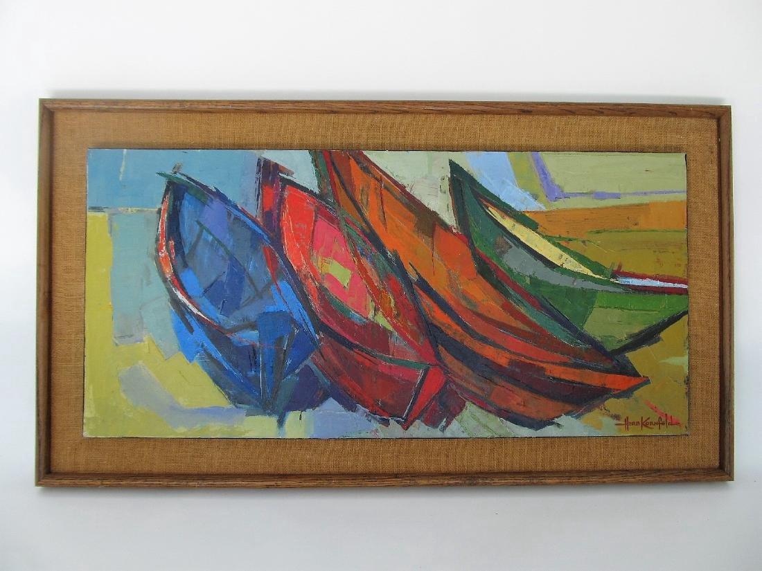 Herb Kornfeld Boats Oil on Canvas