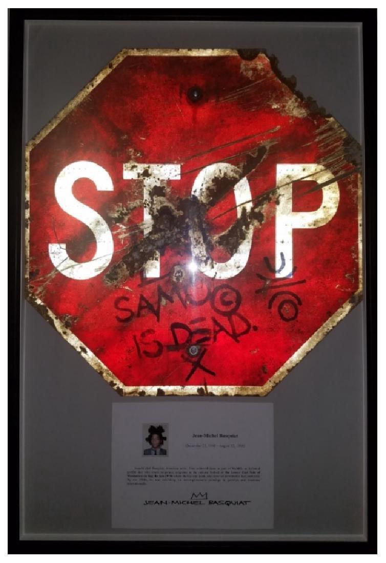 """Jean-Michel Basquiat """"SAMO IS DEAD"""" Traffic Sign Stop"""