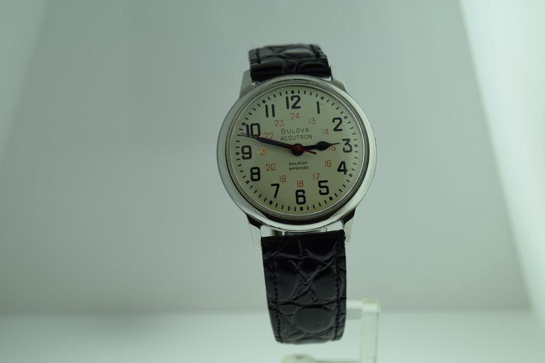 Vintage Bulova Accutron Railroad 24 Hr Dial Watch, 1971
