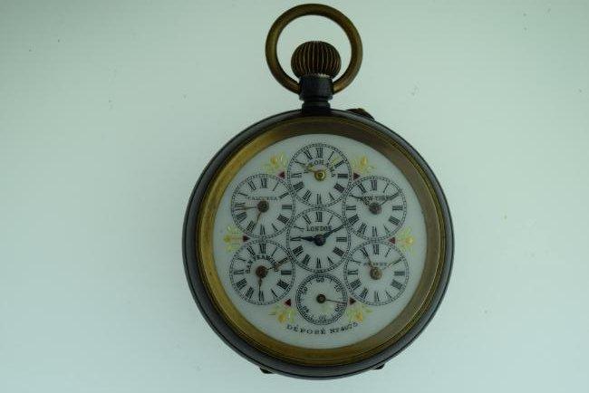 Antique Depose World Time Pocketwatch, 6 Timezones