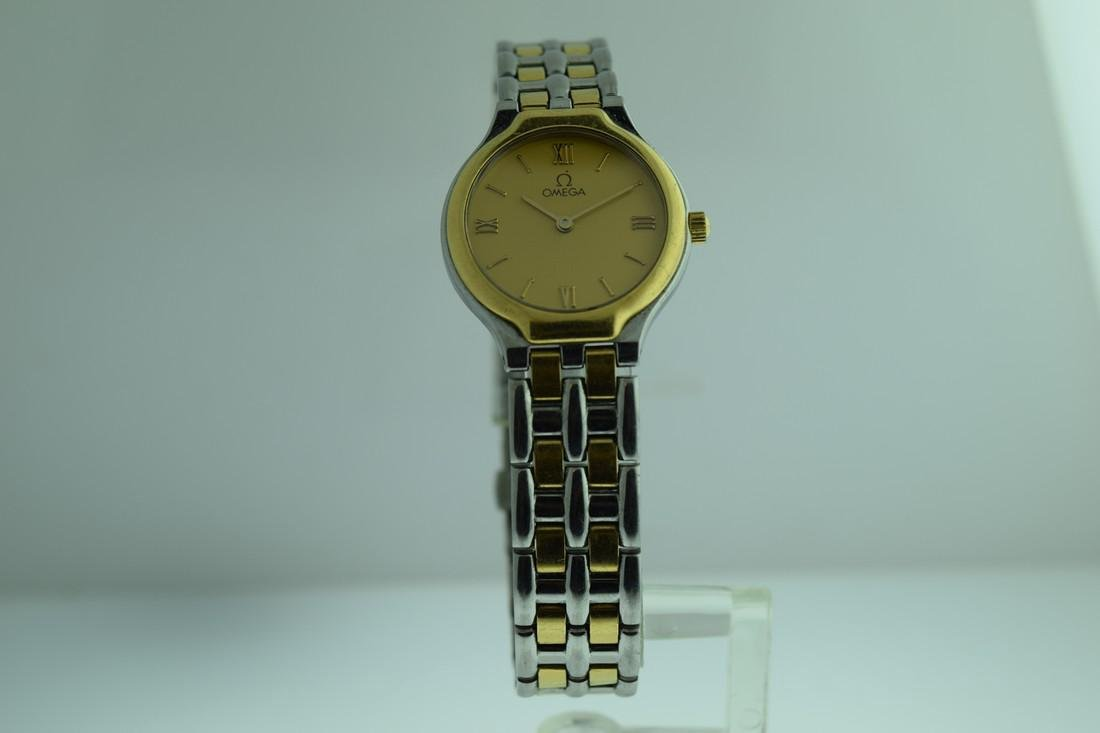 Ladies Omega 18K Gold Stainless Steel Watch