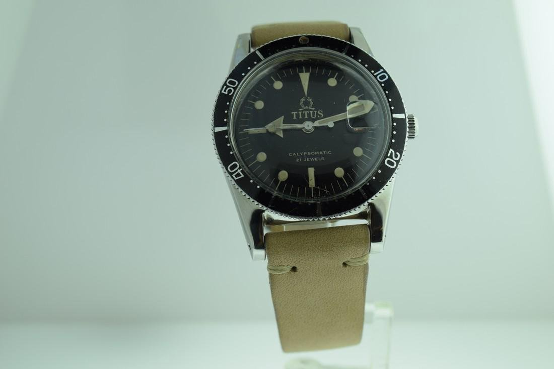 Vintage Titus Military Style Rotating Bezel Watch 1970s