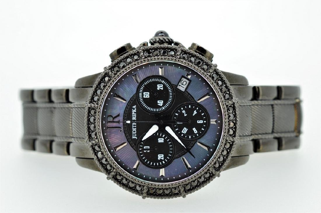 Judith Ripka iridesent Black Chronograph Wristwatch