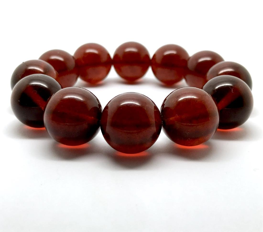 Baltic amber bracelet of large beads, 28.8 gr
