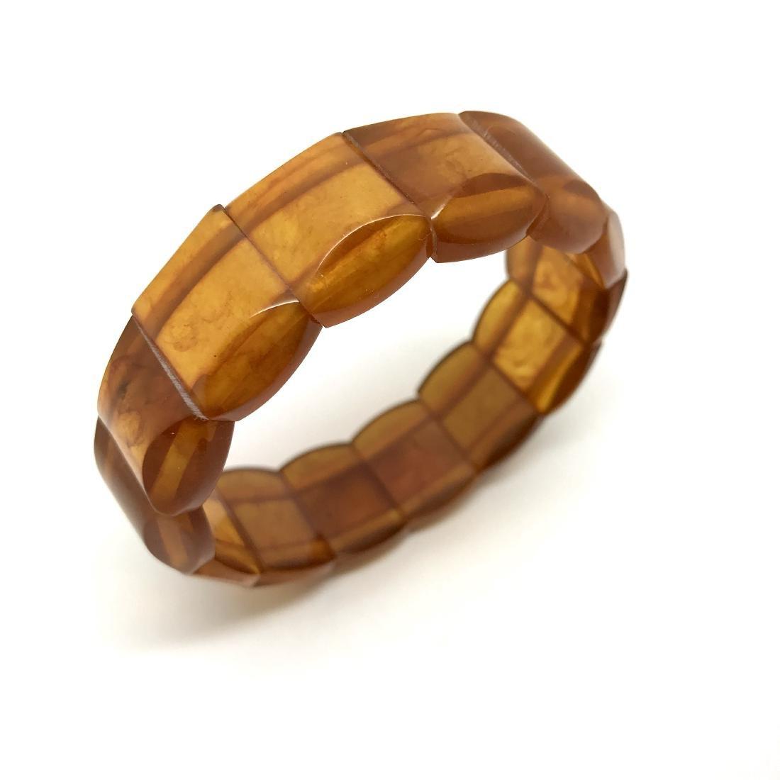 Antique Baltic amber carved slices cuff bracelet 22.9