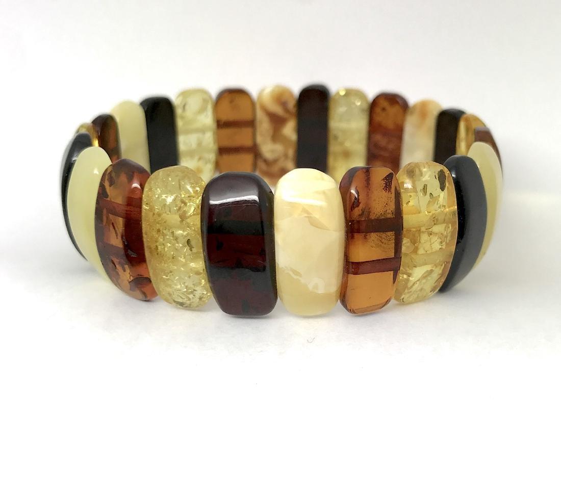 Vintage cut Baltic amber cabochons bracelet 15.1 gr